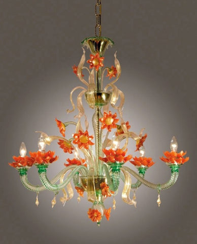 Orange and green Murano glass flower chandelier