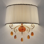 Elegant Italian wall light with amber glass droplets and shade