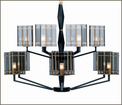 Luxury modern black and smoked glass chandelier