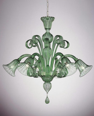 Green Murano glass 6 arm chandelier