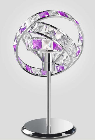 Purple and clear crystal futuristic chrome framed table light