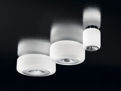 Modern white frosted glass and chrome ceiling light