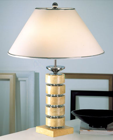 Modern cream parchment table lamp with glass inserts