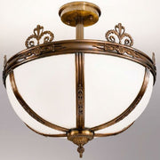 Antique Bronze and White Satin Glass Ceiling Light