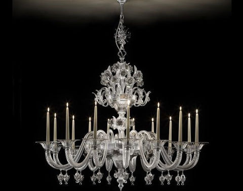 Clear Murano glass 15 light chandelier with grey decoration