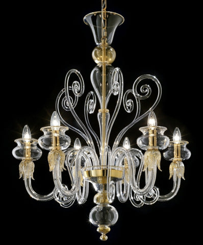 Clear glass and gold Murano chandelier