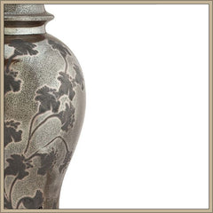 Japanese-style silver and grey table lamp with leaf motif