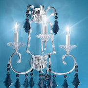 Antique Silver Plate Wall Light with Blue Bohemian Crystals