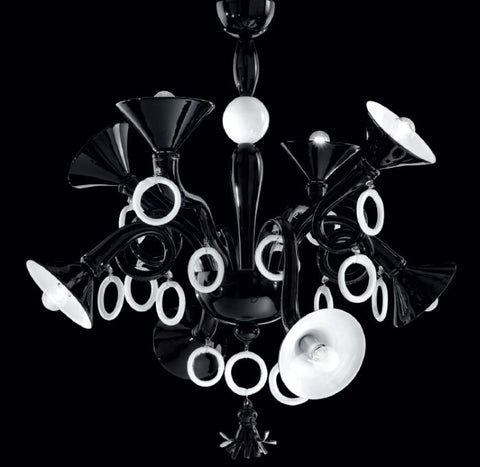 Quirky black and white Murano glass art chandelier