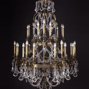 27 light brass chandelier with Bohemian crystals