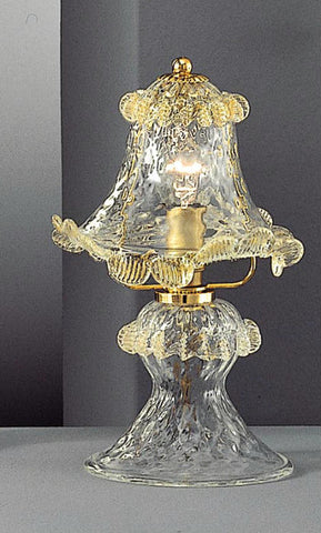 Handproduced Murano glass table light with gold trim