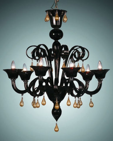 Black Murano glass chandelier with gold droplets