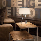'Tripod' white ecru or mocha fabric shade lamp from Kundalini