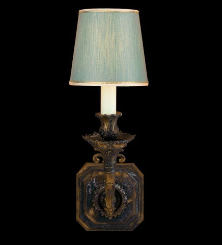 Traditional brass oxide wall light with shade