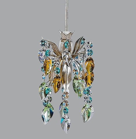 Chandelier with Turquoise & Amber Swarovski Elements
