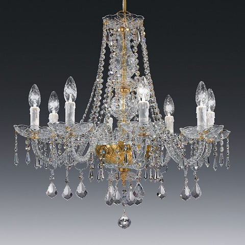 8 arm gold & crystal chandelier with Leonardo system