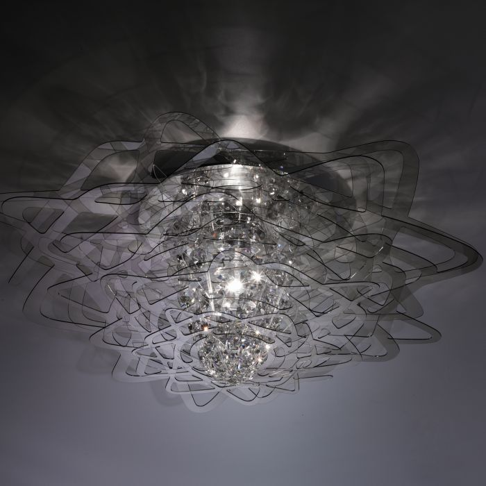 Smoked, white, clear or black flush light with crystal centre