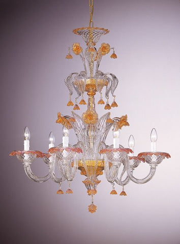 Murano Baloton glass chandelier with pink accents