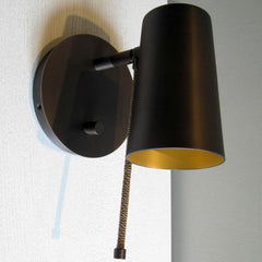 High-end  bronze or chrome wall light with silk rope detail