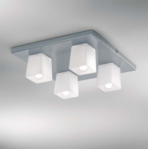 Minimal Micron ceiling light with 4 metallic silver glass cubes