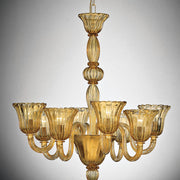 Amber glass tulip-shaped Murano Chandelier