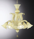 White and amber Italian chandelier