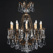 10 light brass chandelier with hand cut Bohemian crystals