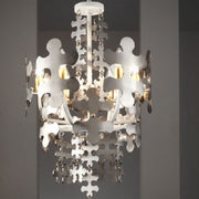 Tall hand-crafted chrome jigsaw chandelier