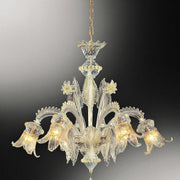 Beautiful Murano chandelier with clear & gold glass decoration