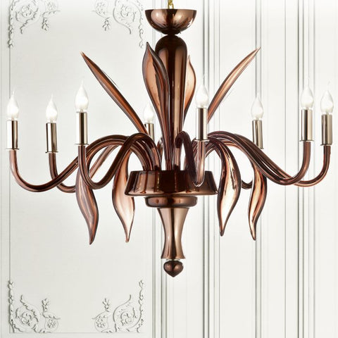 Modern brown mirror finish Murano glass chandelier
