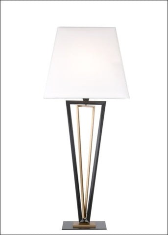 Art deco style table lamp with angular gold and black base