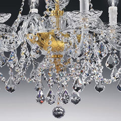 Traditional Italian gold-plated lead crystal 6 light chandelier