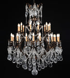 30 light French gold chandelier with Bohemian crystals