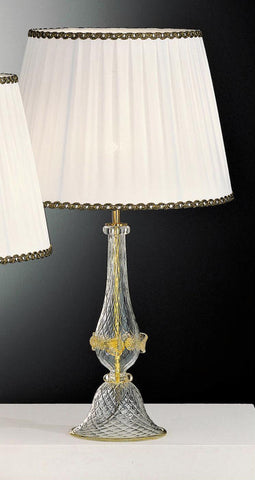 Venetian handcrafted crystal clear glass lamp base