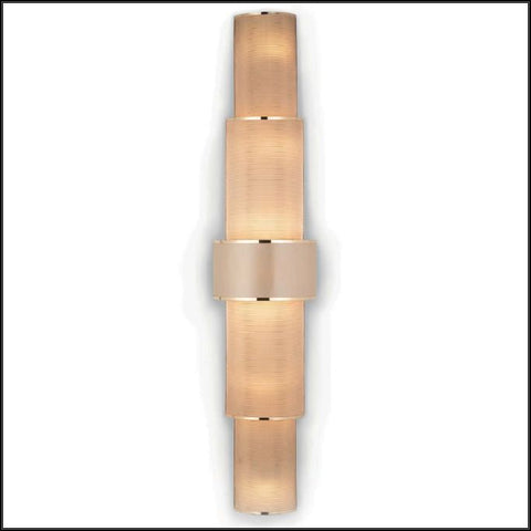 Tall modern wall light with metallic copper diffuser