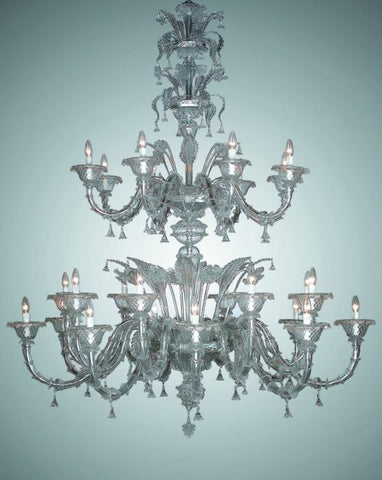 Opulent clear Murano glass 24 light chandelier
