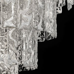 Mid-century white corteccia glass chandelier in custom sizes