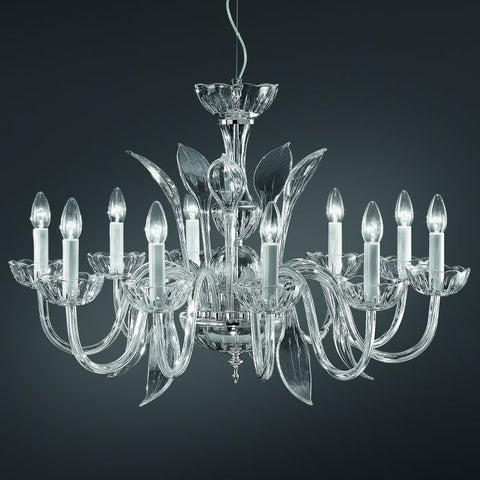 Clear or amber glass handblown chandelier from Italy