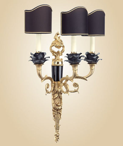 Black marble wall light with black Capo di Monte rose