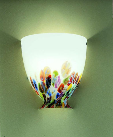 White Venetian glass wall light with multi-coloured murrines