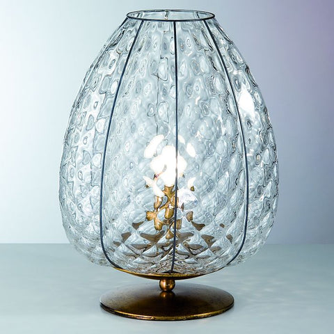 Murano crystal baloton table light with gold leaf base