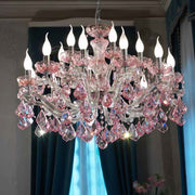 Pretty Glass Chandelier with Pink Crystal