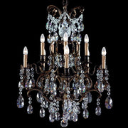 10 light brass chandelier with crystals
