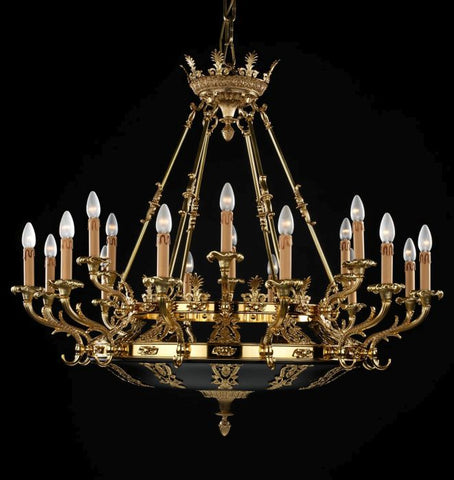 Large18 light French gold Empire chandelier