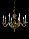 Traditional 8 Light gold-plated candle chandelier