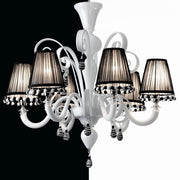 Exquisite white and black Murano glass chandelier with shades