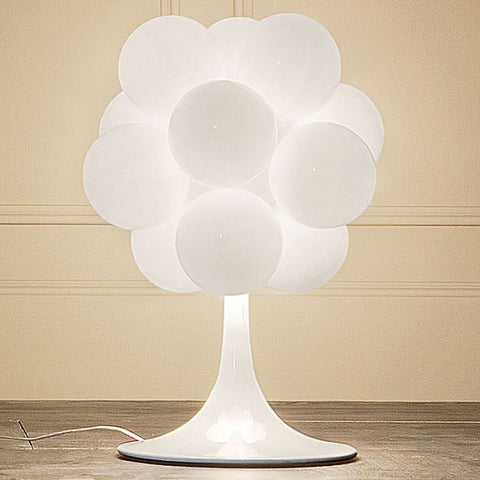 Glossy white Murano glass cloud table lamp