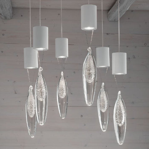 Modern clear glass light fitting with 6 pendants in pink & blue