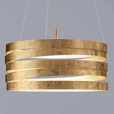 Modern pendant light with gold silver or copper leaf finish