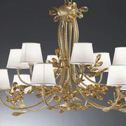Amber Lead crystal chandelier with cream shades